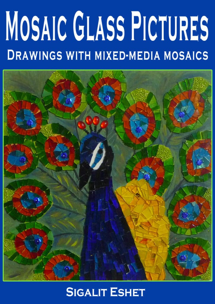 mosaic glass pictures book - drawings with mixed media mosaics