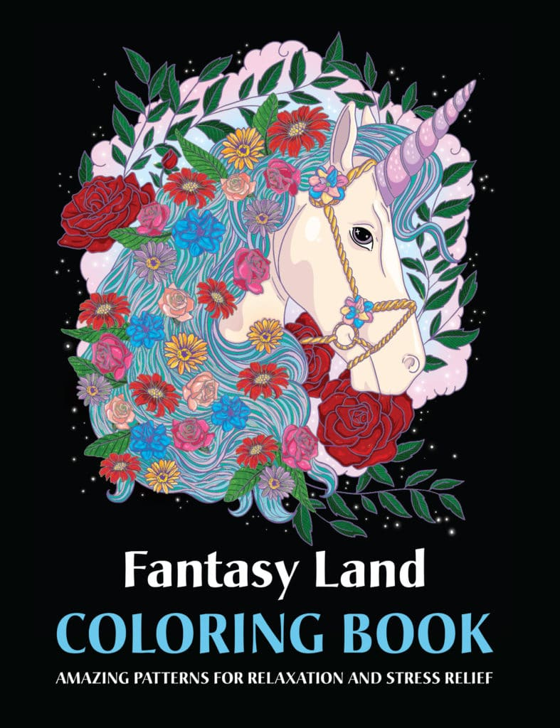 fantasy land adult coloring book and mosaic coloring pages